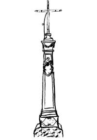 Kříž vedle zachovalého statku (między domami 23 i 24)